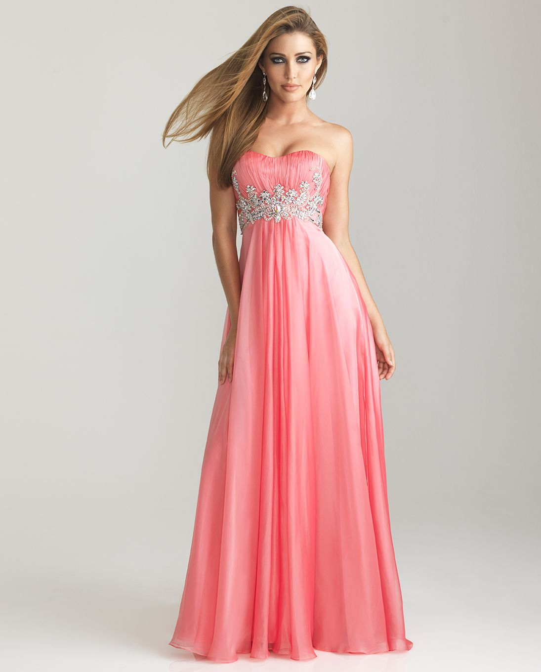 Coral Chiffon Beaded Empire Waist Prom Dress - Unique Vintage ...