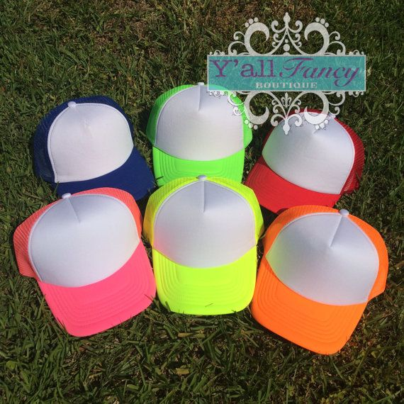 783af99b60a Custom Neon Trucker Hats - Monogram or Hashtag or Quote! on Etsy ...