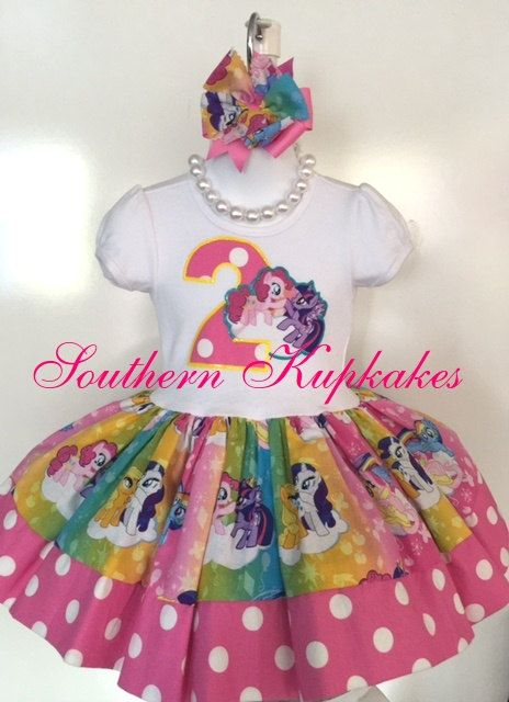 c600d3eed Custom Girls Boutique My Little Pony Twirl Birthday dress and hair bow THIS  LISTING IS FOR