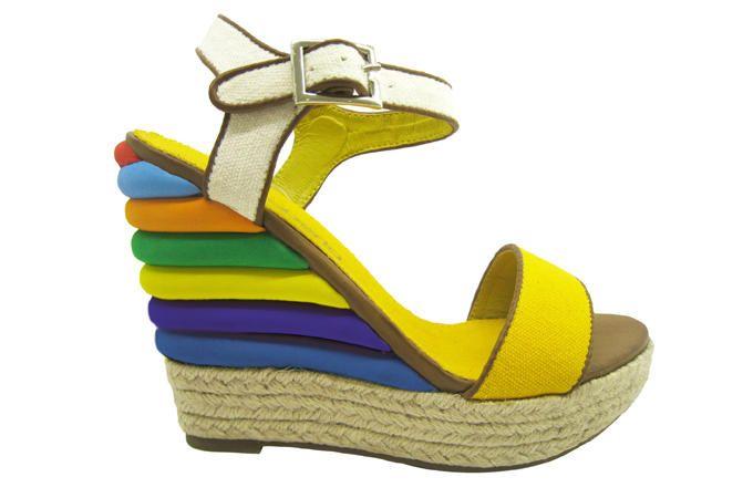 half off 6bd71 b4f01 Zeppa in corda e inserti multicolori, Miss Roberta | Shoes ...