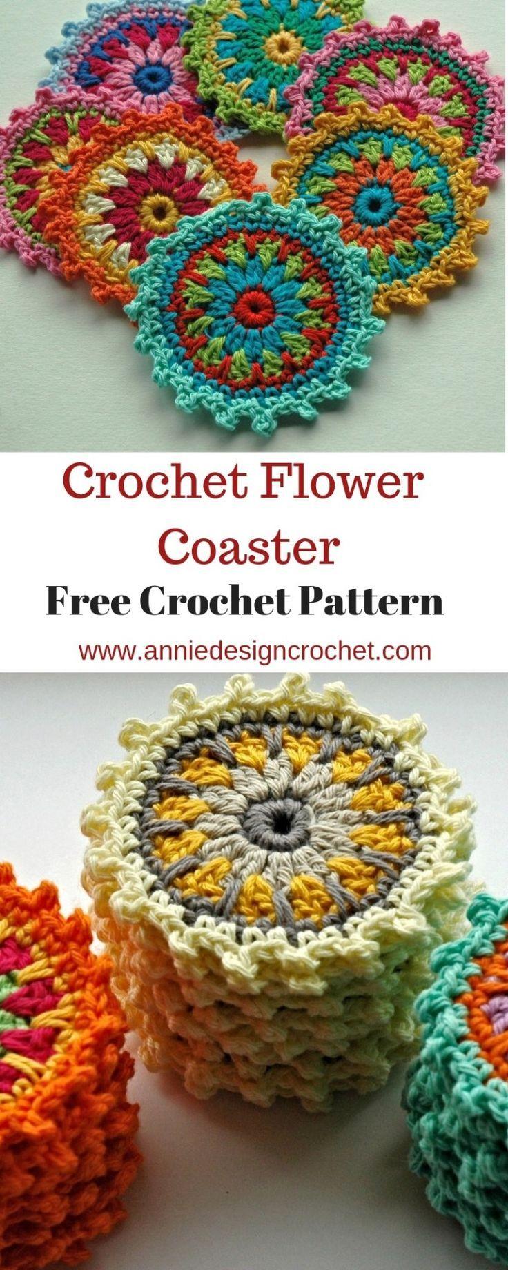 Free crochet pattern for crochet flower motifs, to use as coasters or mini manda... #crochetflowers
