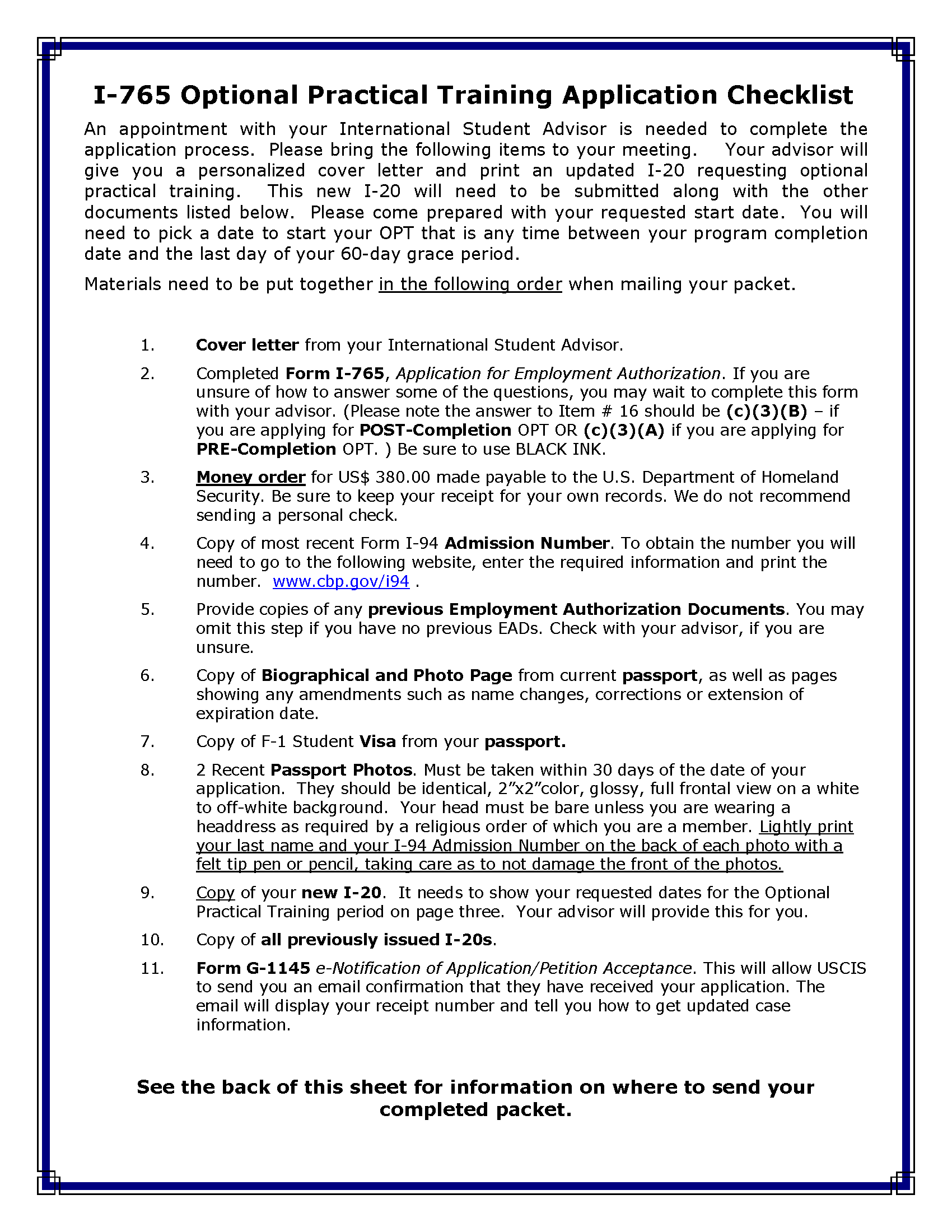JWU OPT CHECKLIST PAGE 1 OF 2 | Optional Practical Training (OPT ...