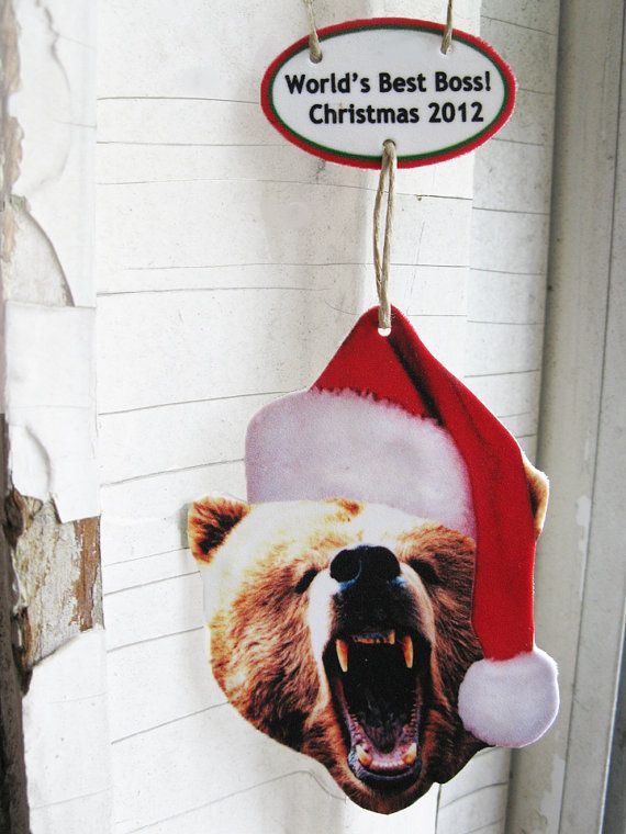 LOVE IT. The Christmas Grizzly Bear Ornament Personalized by whatanovelidea, $15.00