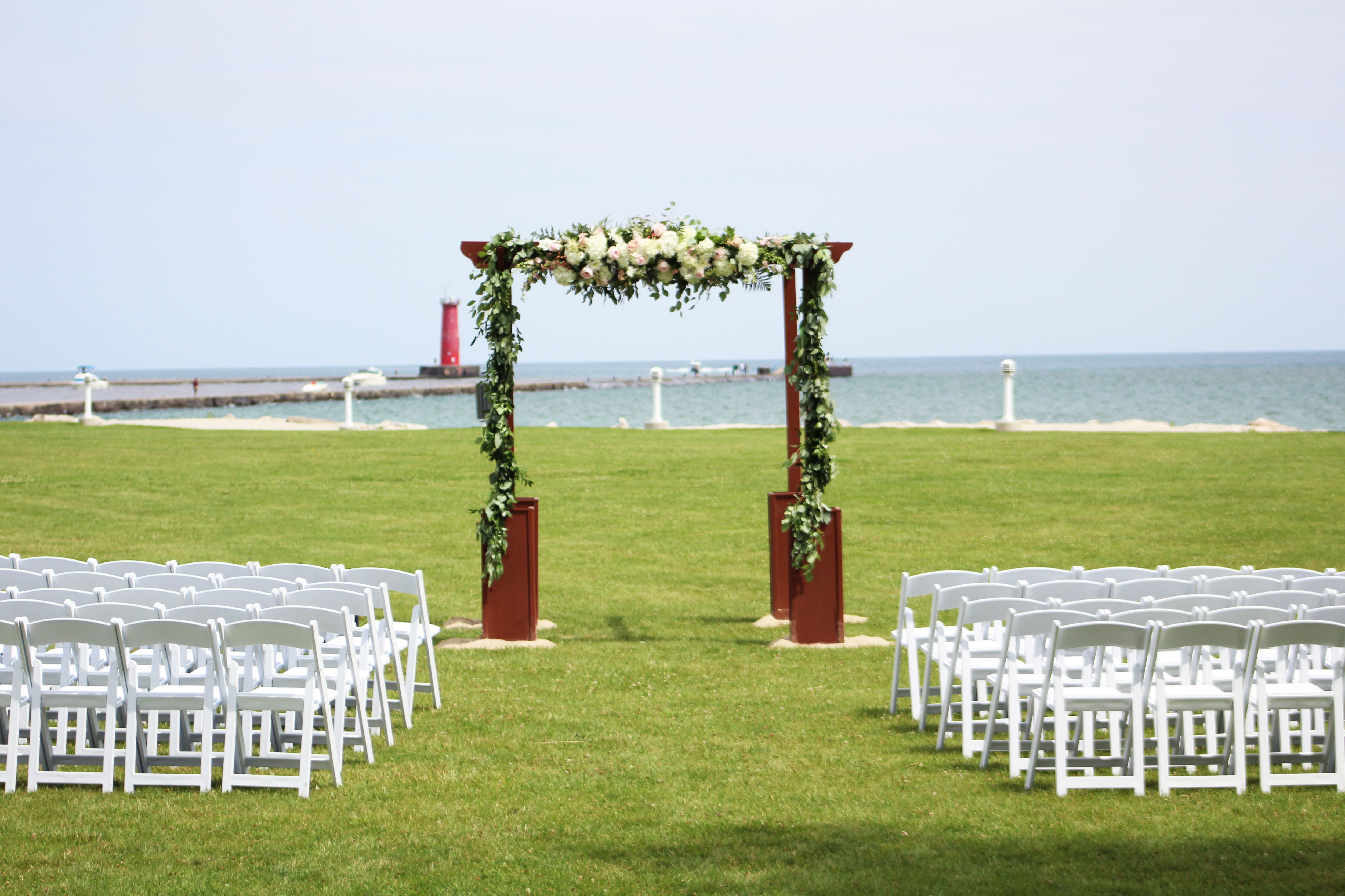 Wedding Arch Overlooking Lake Michigan At Blue Harbor Resort