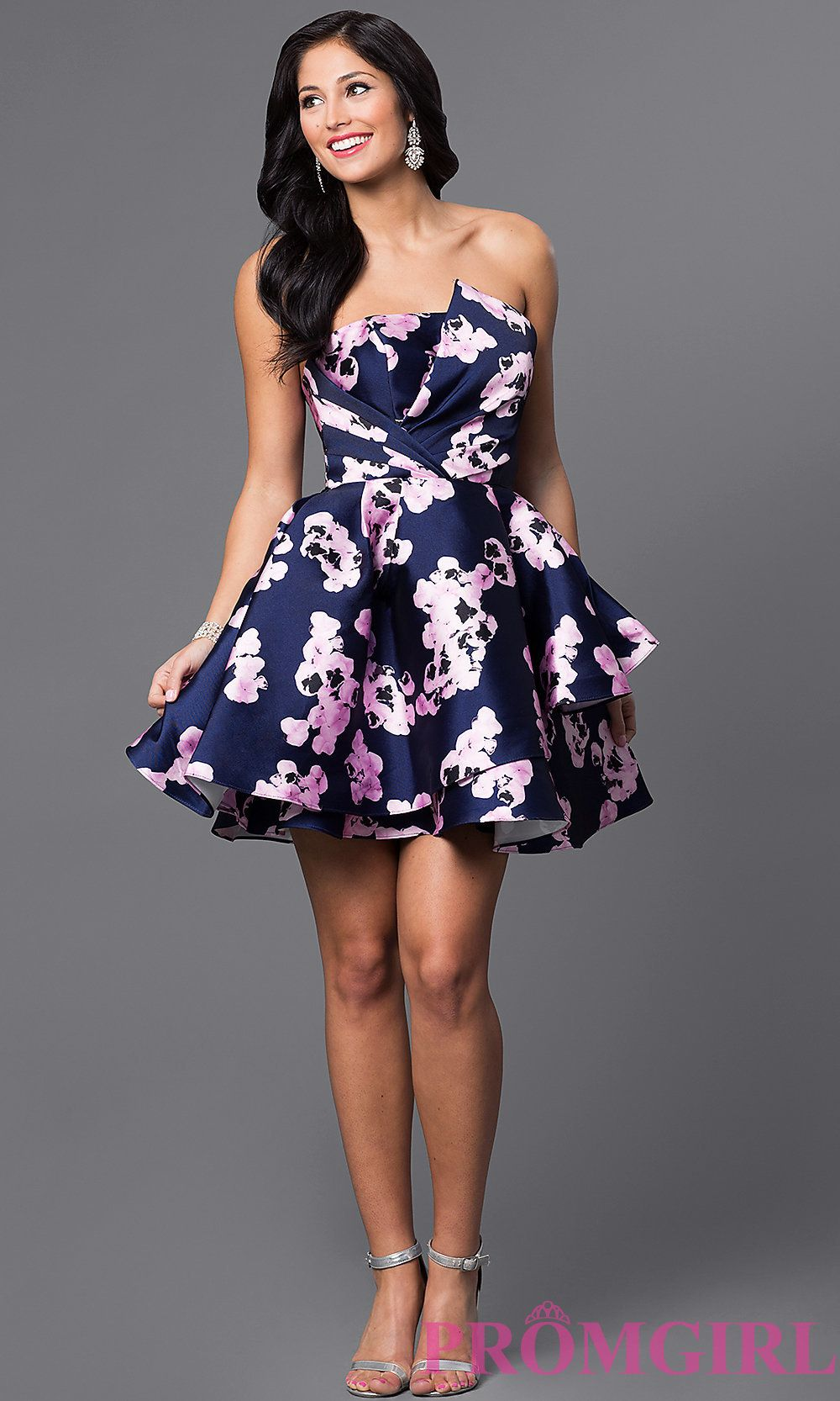 Strapless floral print homecoming dress with knife pleated bodice ...