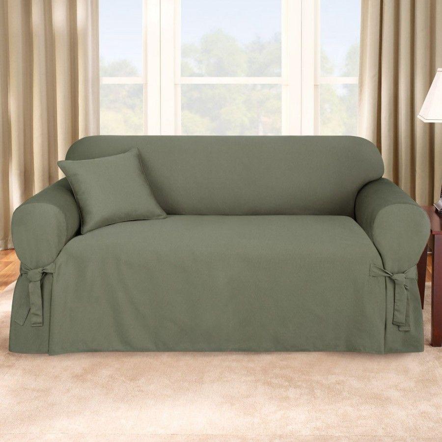sure fit logan sofa slipcover brands india in dark green box cushion 158727246