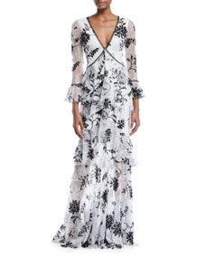 64290fcc Marchesa Notte Flocked Lace V-Neck & Ruffle Gown | Alyson Brandt ...