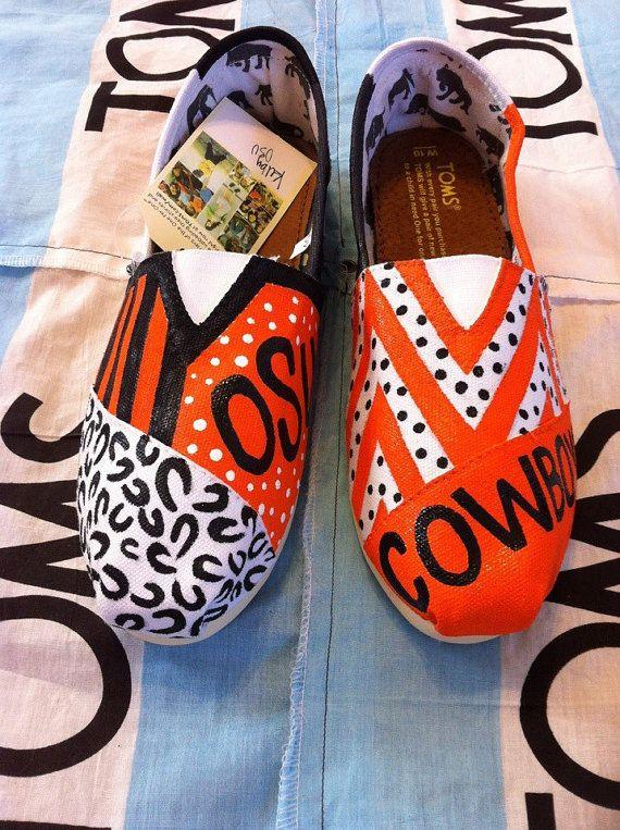 Custom Hand Painted Toms, love this idea for school spirit!!!