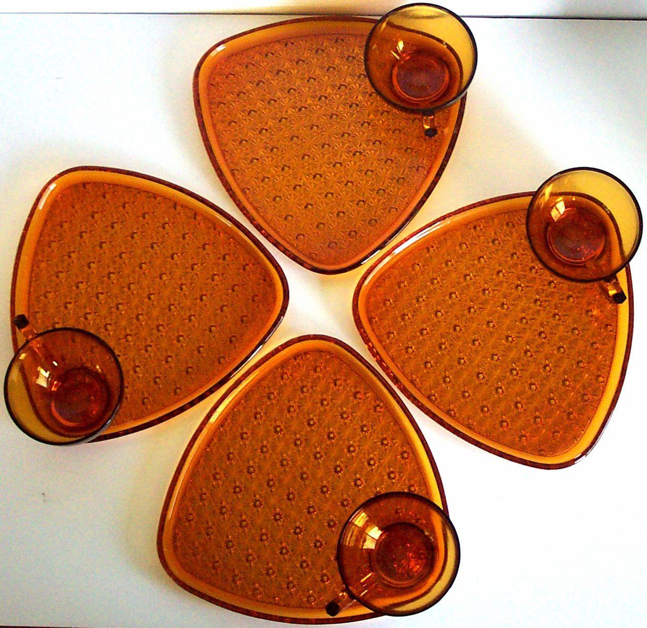 Dollar Tree Lancaster: Vintage 8 Piece Snack Set Amber Glass Antique Gold