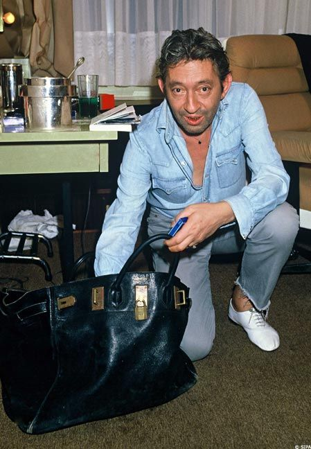 da52c808ec68 This picture breaks my brain. Serge Gainsbourg with a Birkin Bag ...