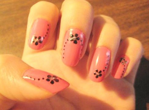 wonderful flower nail art design for office | Latest Nail Art ...