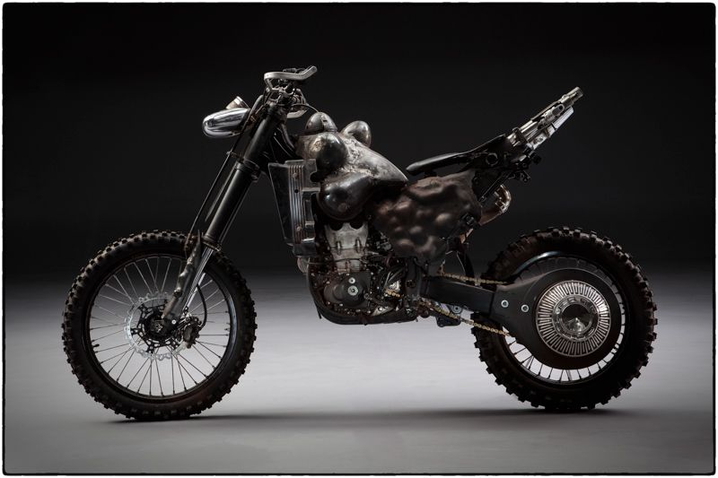 "Custom Motorcycle from ""MAD MAX : FURY ROAD"" YAMAHA YZ450F 2009 before the dirt. #motorcycle #Post_Apocalyptic Photo by John Platt."