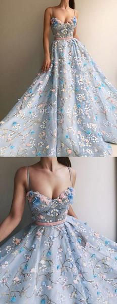 Charming Flower Applique Sky Blue Spaghetti Strap Long Evening Prom Dresses, BW0565 Charming Flower Applique Sky Blue Spaghetti Strap Long Evening Prom Dresses, BW0565