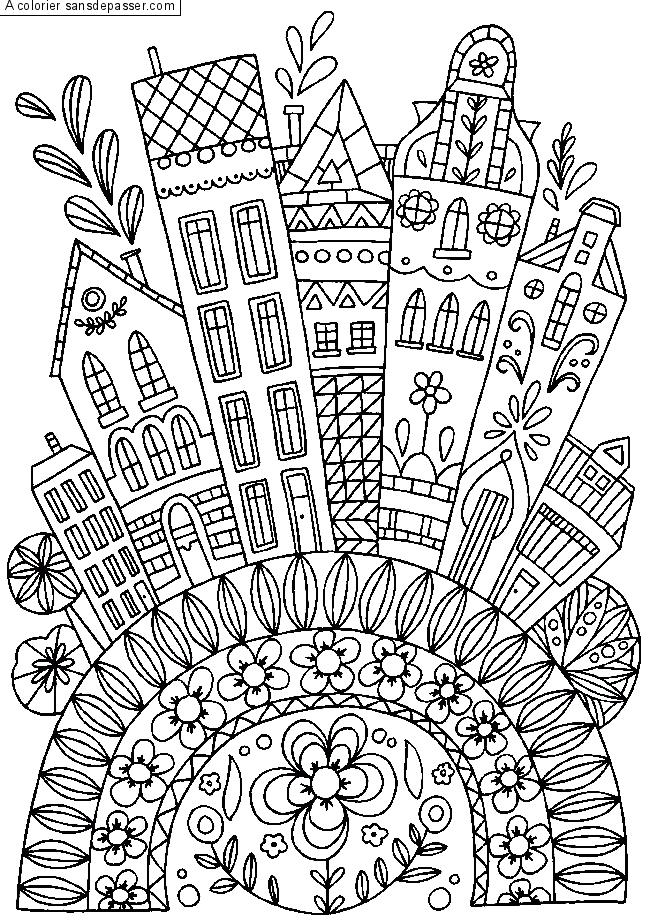 Coloriage Balade En Ville Par Un Invite Coloriage Coloriage Maison Livre De Couleur