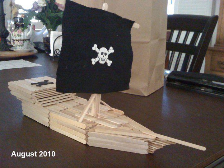 Barco Pirata Casa Palitos De Helado Barco Pirata Y