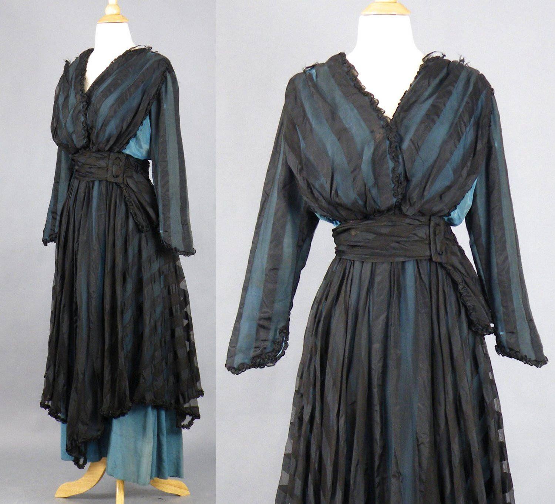 1900s edwardian dress antique dress turquoise blue and