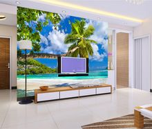 3D Ocean mural wallpaper living room sofa TV background wall paper beach scenery wallpaper picture(China (Mainland))