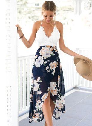 Vestidos Chifón Encaje Floral Midi Sin Mangas 1022382