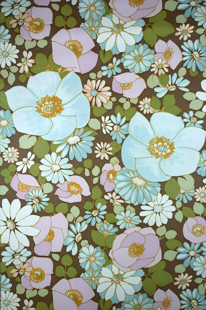 Vintage Turquoise Floral Wallpaper With A Large Flower Pattern Turquoise Blue Will Add A Bri Blue Floral Wallpaper Floral Wallpaper Turquoise Floral Wallpaper