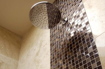 small mosaic feature wall in shower Google Search Home sweet