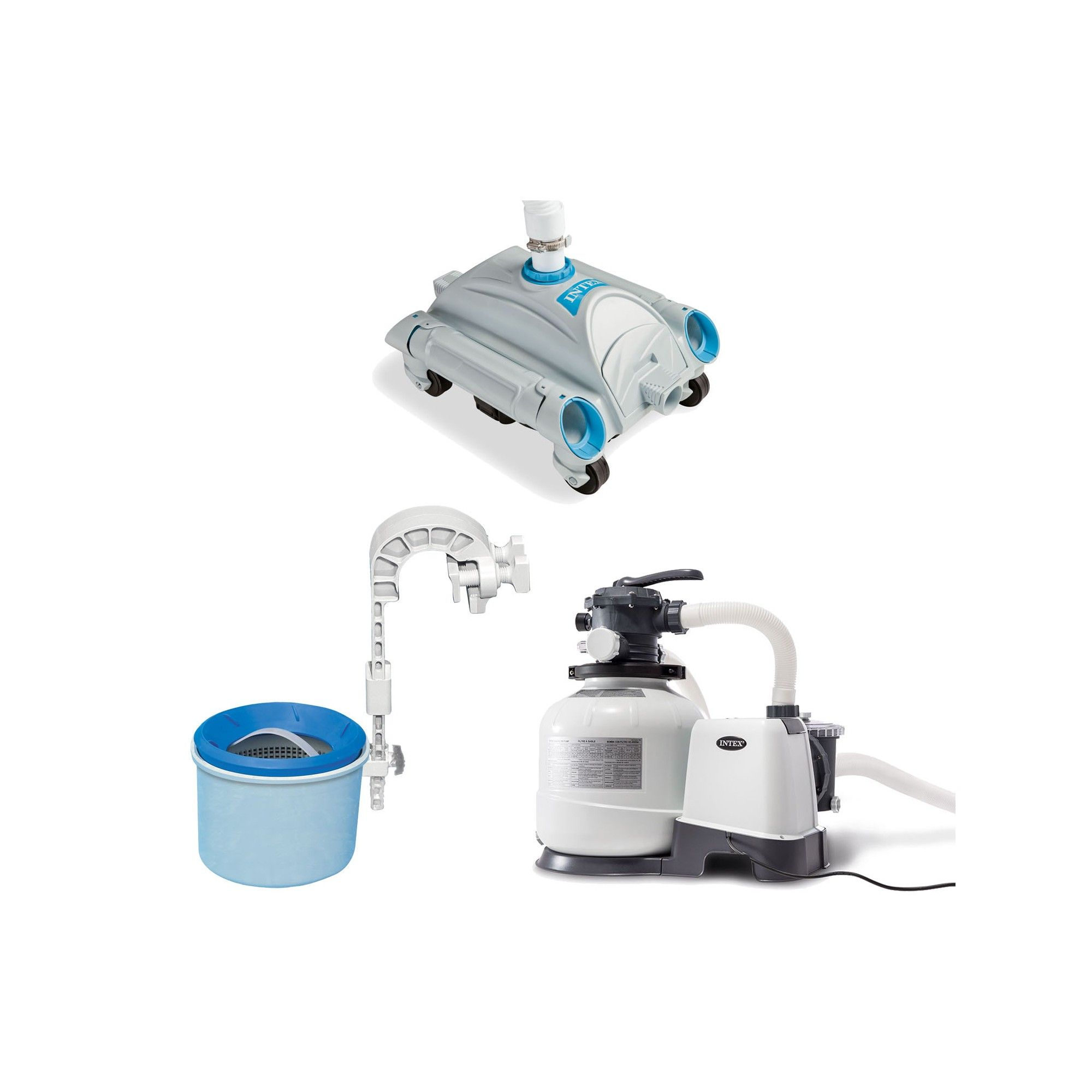 Intex Pool Sand Filter Pump with Pool Vacuum and Wall