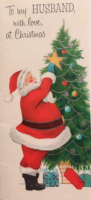Reserved For Samantha Vintage Christmas Card Santa Decorating Tree