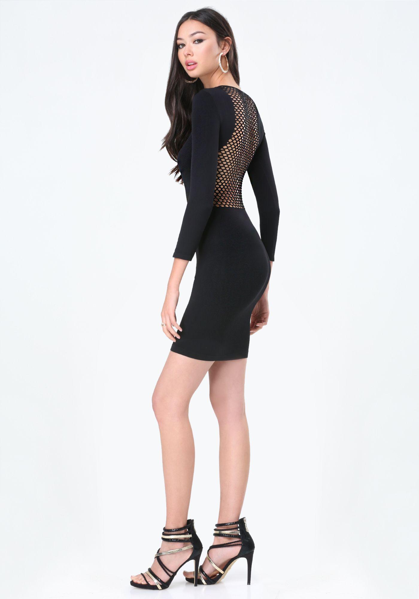 Bebe Jayme Mesh Back Dress In Black Bridget Hollitt Rbb 270005 Blk Bodycon Dress With Sleeves White Sheer Dress Clothes Design [ 2000 x 1400 Pixel ]