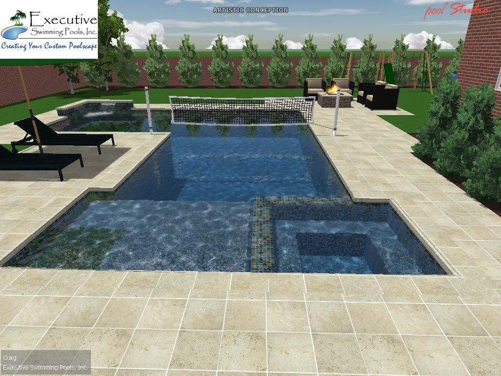 Custom Pool Design Rectangular Pool With Flush Spa Sunledge Volleyball Net Rectangular Pool Pool Designs Custom Pools