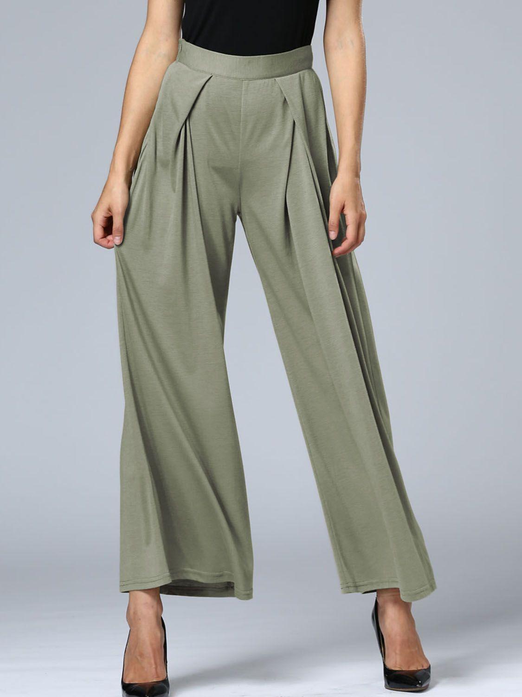 Green High Waist Wide Leg Palazzo Pants | Palazzo pants, Products ...