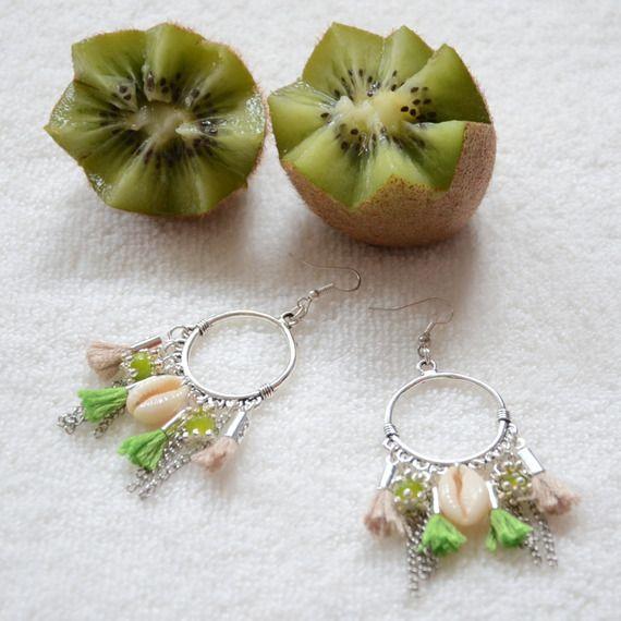 boucles d'oreilles kiwi vertes et argentées, bijou bohème chic et ethnique chic