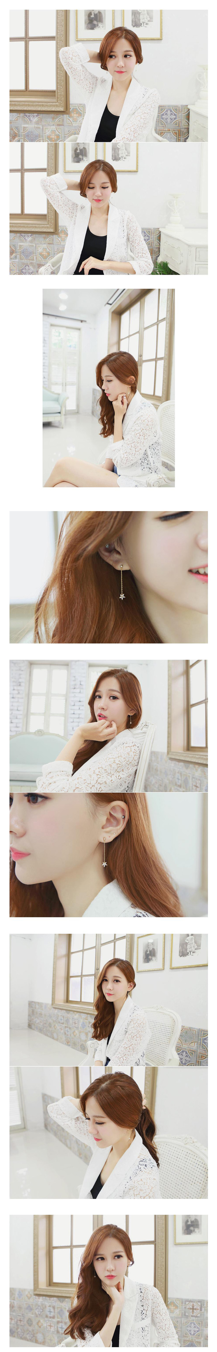 South Korea imported genuine purchasing sweet sweet earrings long section diamond flower earrings earrings 925 needles - Taobao Taiwan, omnipotent Taobao