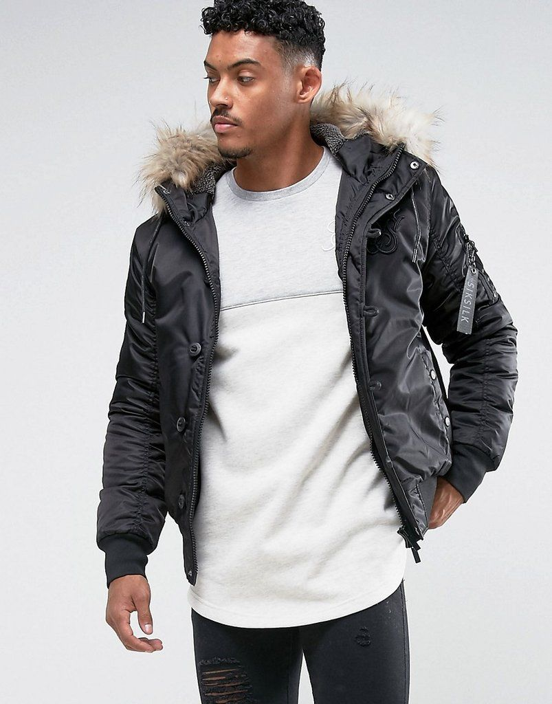 Siksilk Bomber Jacket In Black With Faux Fur Hood Black Bomber Jacket Faux Fur Hood Jackets [ 1024 x 803 Pixel ]