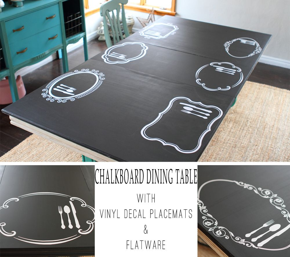 Chalkboard table with Vinyl Decal Placemats