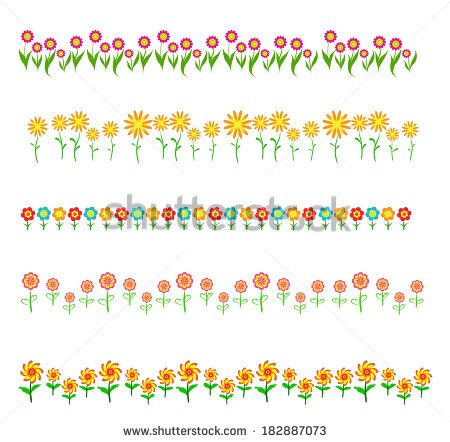 flowers frame isolated on white background | summer and Spring ...