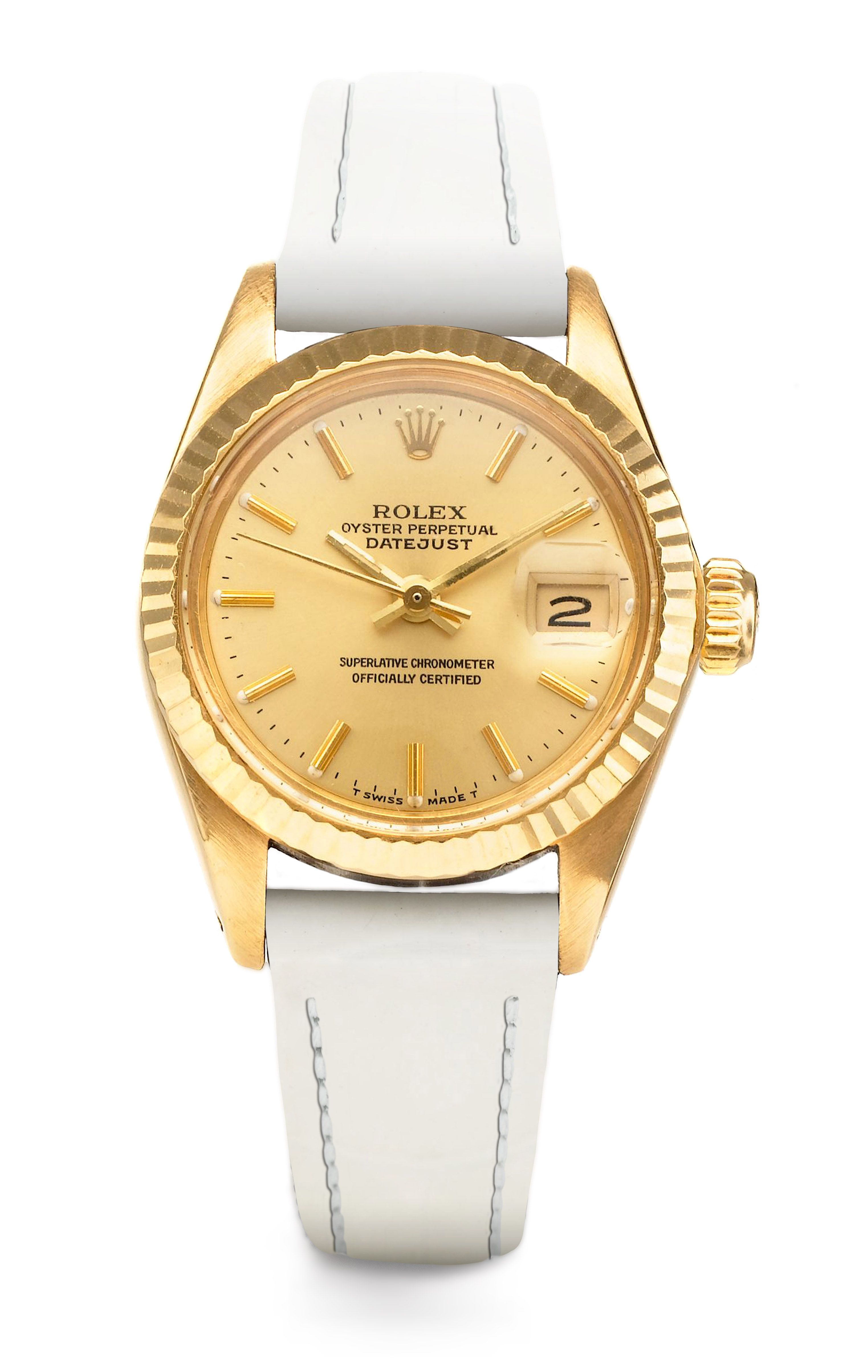 White Leather and Gold ROLEX