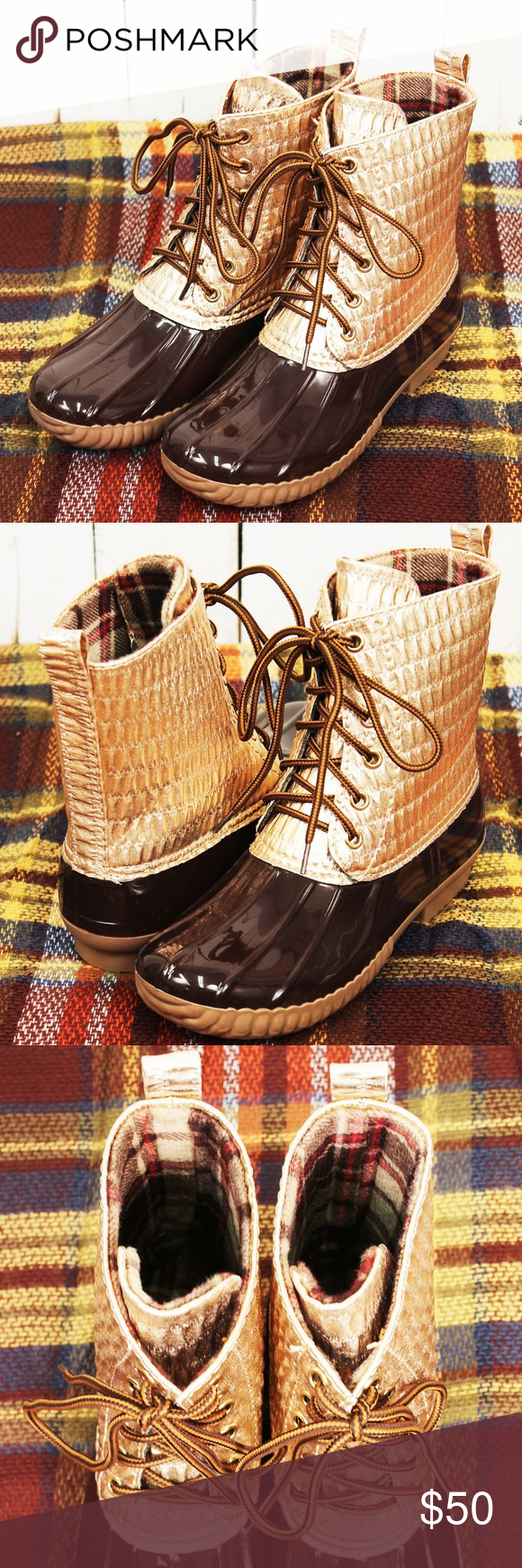 7a54cae17836 Pleated Metallic Duck Boots (RUNS SMALL)  New Boutique Item  When the  weather is bad