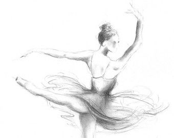 Disegno Di Una Ballerina : Original pencil drawing on white paper of ballerina by ewa