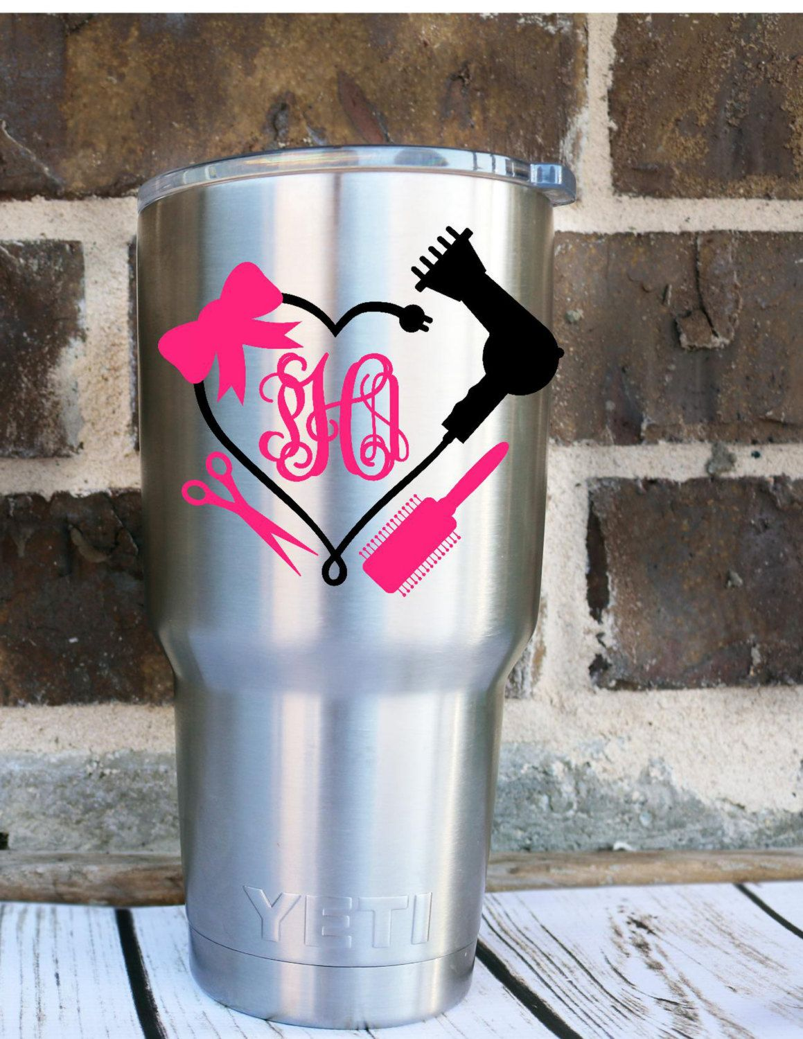 Blowdryer Monogram Decal Hairstylist Decal Cosmotology Decal - Hair stylist custom vinyl decals for car