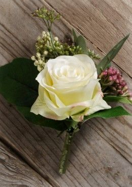 White Garden Rose Boutonniere roses | roses, yellow roses and yellow