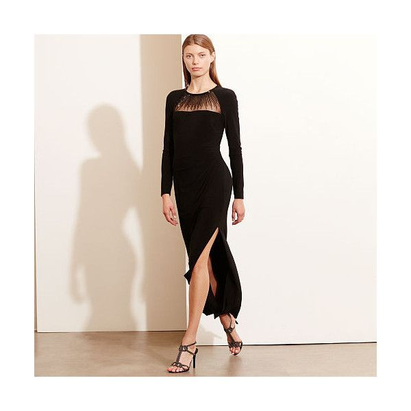 Ralph Lauren Lauren Beaded-Yoke Jersey Gown ($155) ❤ liked on Polyvore  featuring