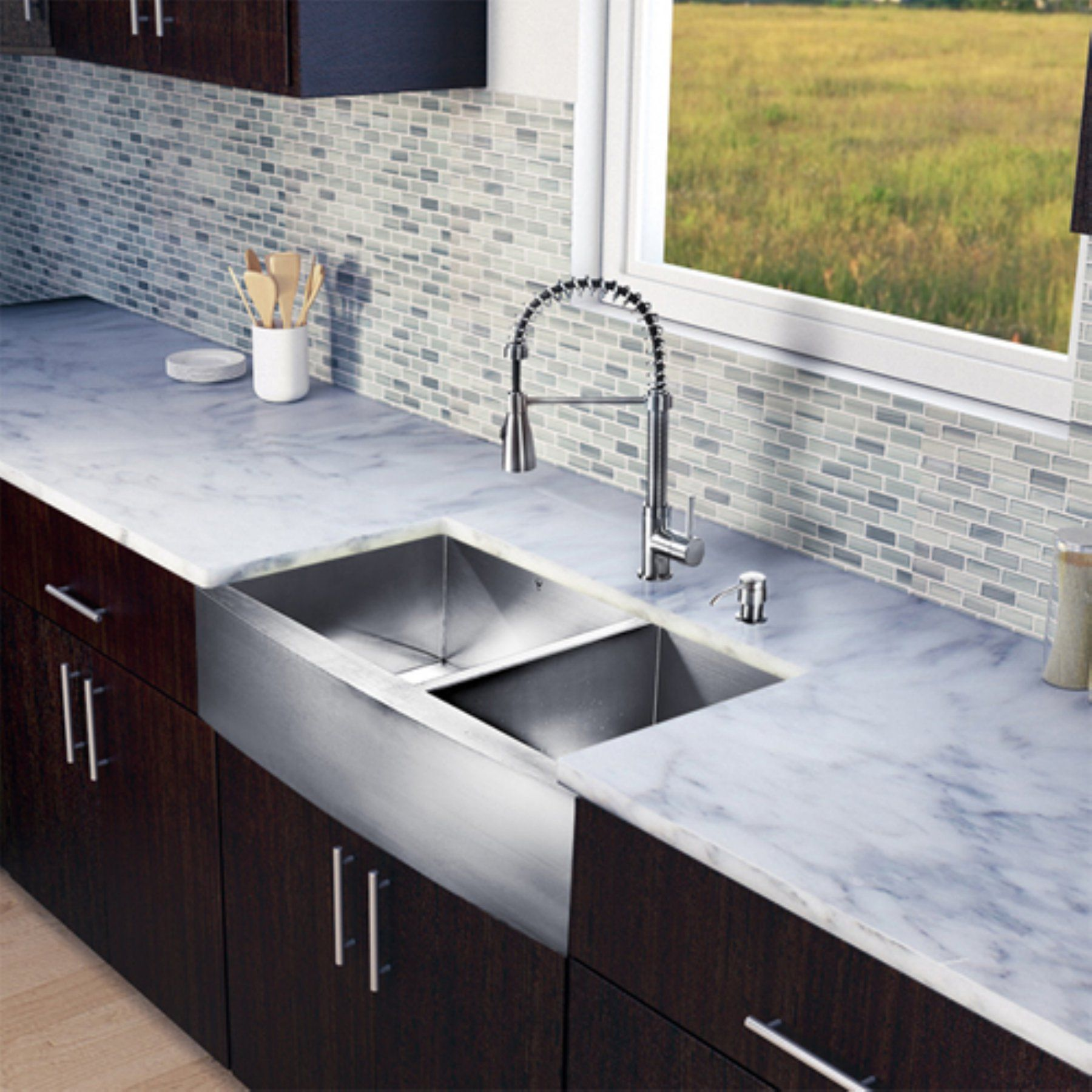 Vigo Vg15195 Double Basin Farmhouse Kitchen Sink And Faucet Set