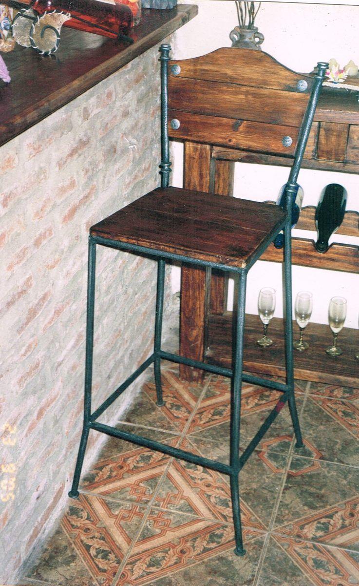 Banqueta Bar Barra Hierro Madera 1 590 00 Banquetas Mueble Bar Madera
