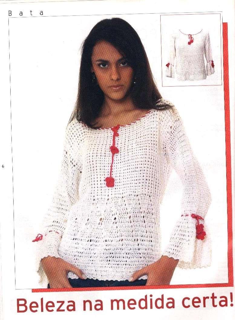 Jersey manga larga campana | tunicas crochet | Pinterest | Patrón ...