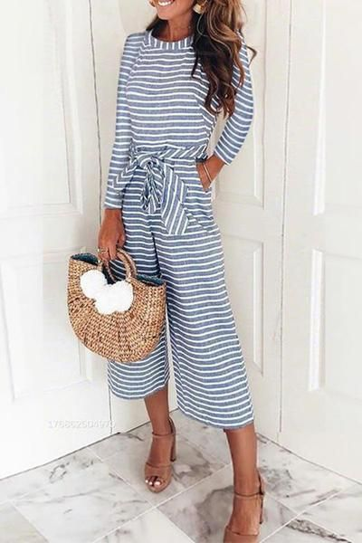 Women Fashion Jumpsuits Stripe Long Sleeve Solid Color, TOKEEPER Stylish Jumpsuits