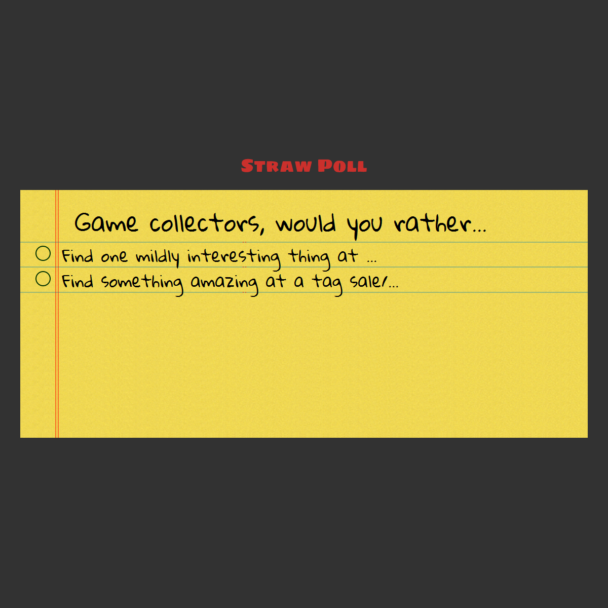 Strawpoll about tag sale thrift store finds collectionofgames