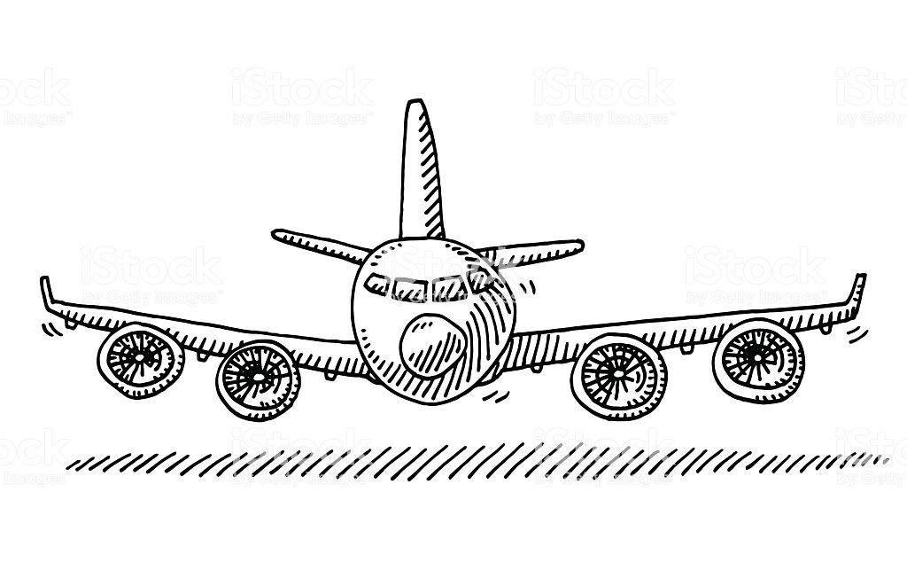 Hand Drawn Vector Drawing Of A Cartoon Airplane Front View