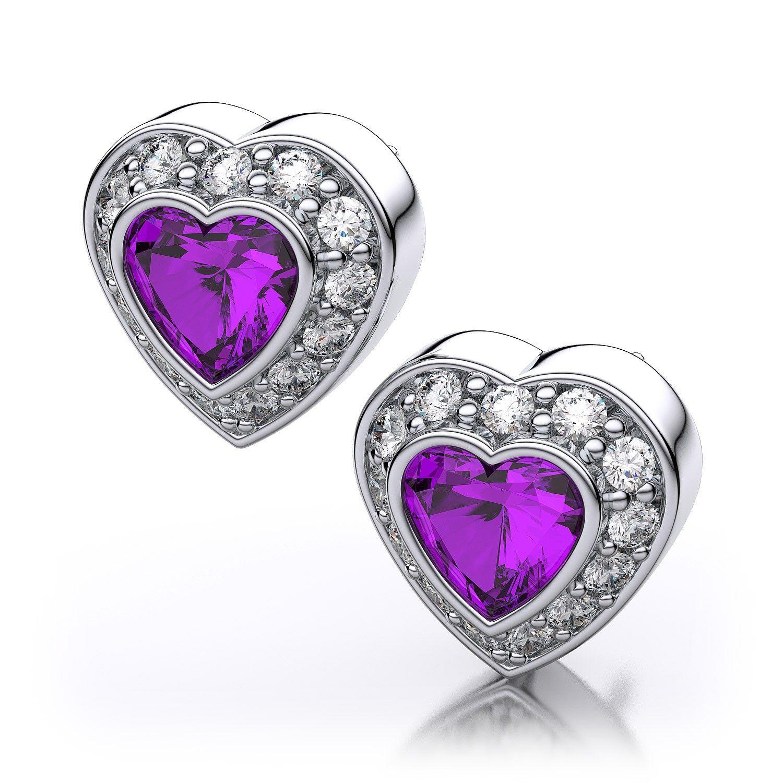 Heart Shape Garnet And Diamond Earrings White Gold