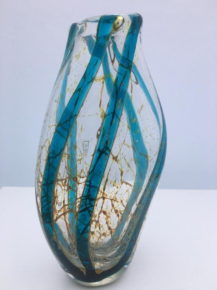 Vintage Mdina Vase Numbered Signed With Label Crystal Stripe