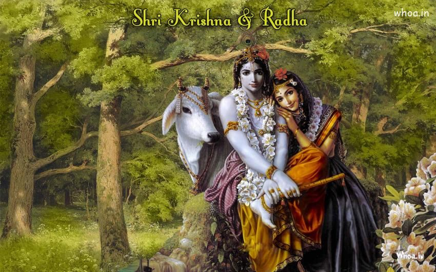 Lord Shri Krishna And Radhe With Natural Background Hd Wallpaper Background Hd Wallpaper Lord Krishna Wallpapers Natural Background