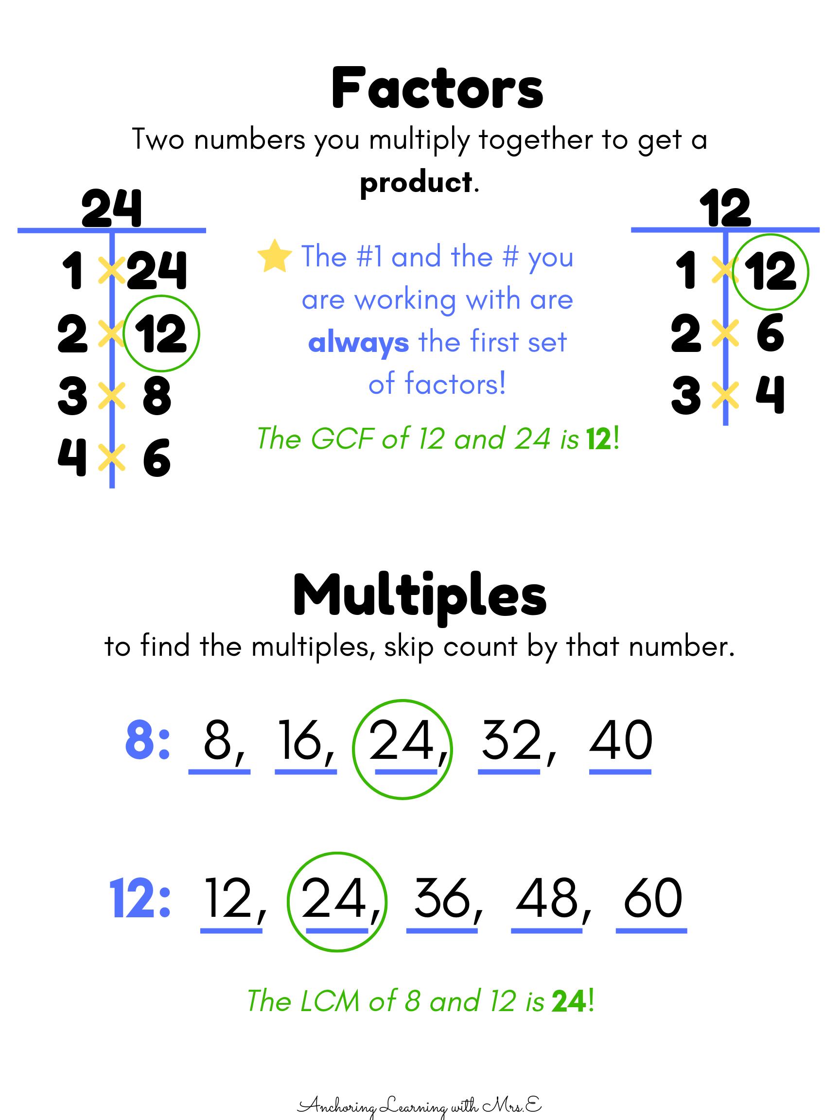 Factors Gcf Multiples Lcm